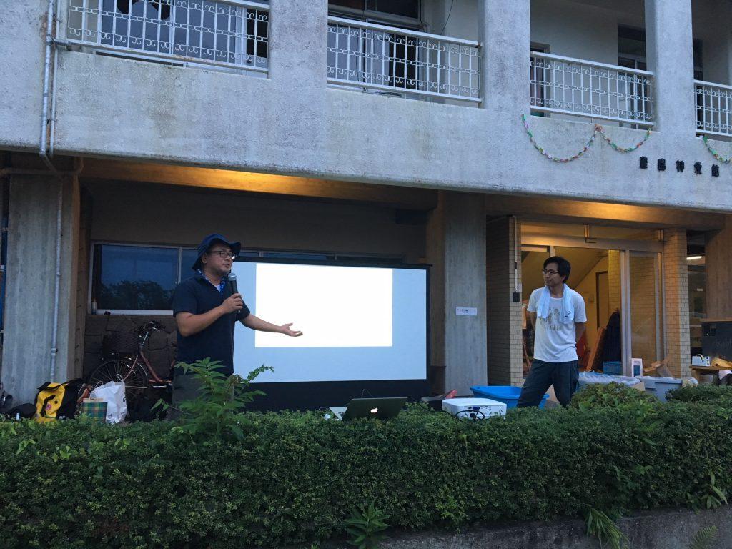 講話をしている男木地区連合自治会会長の福井大和